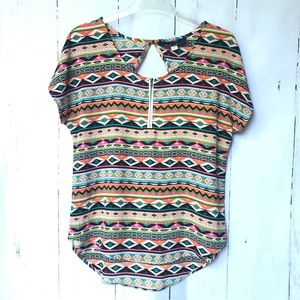 Blue Rain Aztec Top w/ Zipper and Open Back